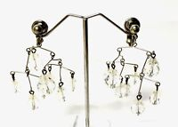 Vintage Silver Faceted Glass Crystal Drop Chandelier Clip On Earrings GIFT BOXED