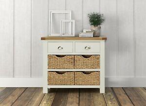 Hampshire Cream Painted Oak Console Table / Sideboard Basket Storage Unit