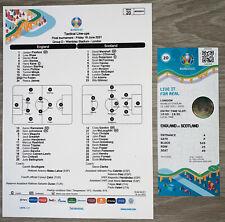 More details for england v scotland official uefa team sheet & match ticket - euro 2020 match 20