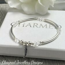 sterling silver charmed feather stretch stacking bracelet with crystals ladies
