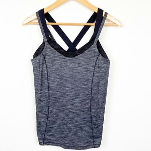 Lululemon Double Strap X Back Built in Bra Heathered Gray Tank Top Athletic 10