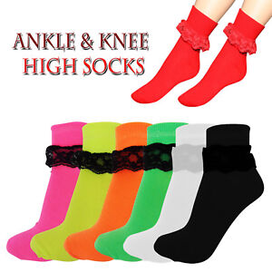 NEW LADIES FRILLY ANKLE & KNEE LACE SOCKS RETRO SCHOOL TRAINER GIRLS LACEY SOCKS