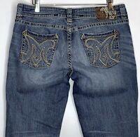 MEK Womens sz 30x35 Cypress Slim Boot-cut Distressed Medium Wash Denim Jeans