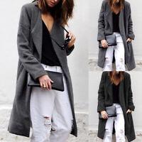 Mode Femme Manteau Manche Longue Loisir Casual Chaud Revers Loose Vestes Plus