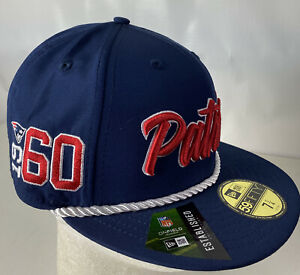 New England Patriots Hat Cap 59FIFTY Onfield NFL 100 Spellout Sewn Logo 7 1/4