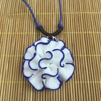 Lotus National Lady Blossom Chinese Sweater Chain Jewelry Necklace Ceramic