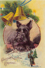 Scottish Terrier Dog w/ Nast Santa 1930s Lucy Dawson New Large Blank Note Cards