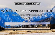 "TrainJunkies O Scale ""Winter Storm Approaching"" Model Railroad Backdrop 144x24"""