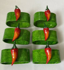 New listing Set of 6 Red Chili Pepper Napkin Rings Wood & Paper Mâché Napkin Rings