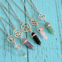 Gemstone Bead Hexagon Pendulum Chakra Healing Point Reiki Pendant Fit Necklace
