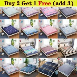 Floral Printed Fitted Sheet Mattress Single Double King 120/150/180cm x 200cm UK