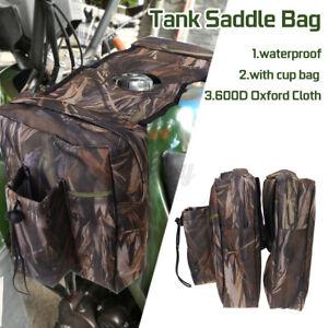 UTV ATV Snowmobile Gas Tank Saddlebag Storage Saddle Waterproof Bag +Bottle Bag