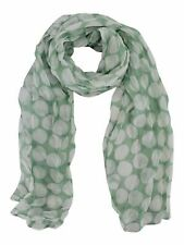 LIGHT MINT GREEN & WHITE POLKA DOT LONG CRINKLE SCARF