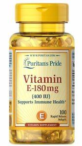 Puritan's Pride Vitamin E 400 IU 100 Softgels Support Heart Health Immune 2025