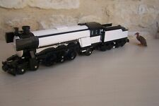 lego train emerald night 10194 with tender , modified .... black and white .....