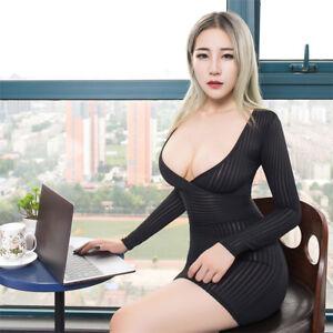 Lady Sheer Striped Dress Micro Mini Tube Bodycon See Through Clubwear Tight OR