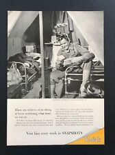 Eastman Kodak Photograph | 1943 Vintage Ad | 1940s WWII Soldier Letters Reading