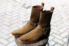 New Handmade Mens Beige Suede Leather Zipper Boots Leather Sole, Zipup Boots