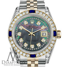 Rolex 26mm Datejust Black MOP String Dial with Sapphire & Diamond Watch