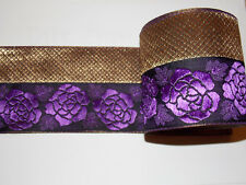 10cm gold PURPLE rose jacquard embroidered ribbon lace applique trimming