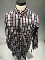 Club Room Men Plaid Long Sleeve Button Front Shirt Red Blue Plaid Size Large NWT