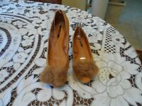 New Zara Pumpkin Brown Suede Faux Fur Embellish Flats Size 37Eu (6.5US)