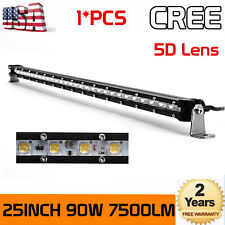 5D+ 90W 25inch LED Driving Light Bar Single Row Offroad Truck 4WD JEEP CAR 24/26
