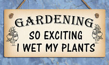 Hanging metal sign Gardening wet my plants funny plaques signs home gifts