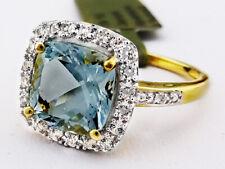 GENUINE 3.60 Ct AQUAMARINE, SAPPHIRES & DIAMONDS RING 10K GOLD *Free Certificate