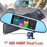 HD 1080P IPS Dual Lens 7'' Car Rearview Mirror Camera Recorder DVR Dash Cam New