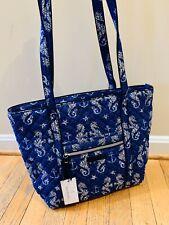 VERA BRADLEY SEAHORSE OF COURSE Iconic Small Vera Tote Bag Purse NWT Blue White