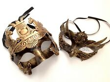 Woman Man Masquerade Ball Mask Metallic Black Gold Silver Steampunk Prom Party