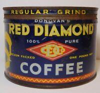 Vintage 1940s RED DIAMOND COFFEE KEYWIND COFFEE TIN 1 POUND BIRMINGHAM ALABAMA
