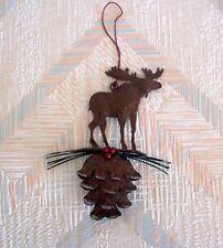 Moose Pine Cone Christmas String Ornament Metal Regal Art