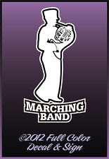 """Marching Band French Horn 3.3"""" x 6"""" Black & White Easy to Apply Decal Ships Free"""
