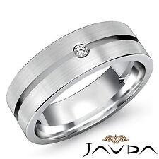 Round Solitaire Bezel Set Diamond Mens Half Wedding Band Platinum 950 Ring 0.1Ct