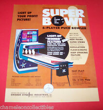 SUPER BOWL By CHICAGO COIN 1972 ORIGINAL SHUFFLE ALLEY ARCADE GAME SALES FLYER