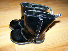 Infant Toddler Size 5 Black Patent Leather Winter Boots Faded Glory Shiny New