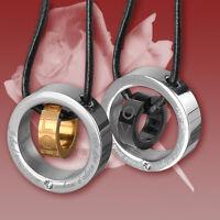 2 Partner Anhänger Edelstahl Ring mit Zirkonia und Echtlederband, Ketten
