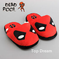 New Super Hero Deadpool Cosplay Soft Plush Slipper Stuffed Doll Toy Shoes 11''