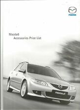 Mazda 6 Accessories Price List from November 2002