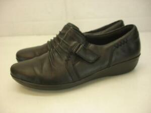 Women's 7.5 M Clarks Everlay Coda Black Leather Flat Shoes Wedge Comfort Slip-On