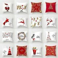 Glitter Merry Christmas Pillowcase Xmas Sofa Car Throw Cushion Cover Home Decor