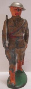 """Antique Metal Toy Marching Soldier w Sword 3  1/8"""" Barclay Tin Helmet 1930s"""