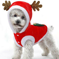 Cute Pet Dog Puppy Christmas Reindeer Hoodie Xmas  Costumes Coat Clothes Outfit