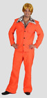 HT Adult Mens Costume Fancy Dress 70's Retro Disco Dancer Groovy Orange Suit