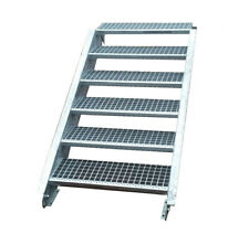 Stahltreppe Treppe 6 Stufen-Stufenbreite 90cm / Geschosshöhe 90-120cm verzinkt