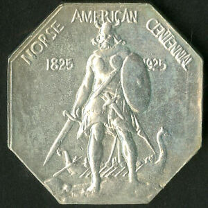 US Coin 1925 Thick Silver Norse American Medal NO RESERVE!