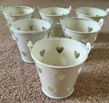 6 Cute Mini Metal Pails / Buckets with Hearts - Wedding-Birthday-Party-Tealight