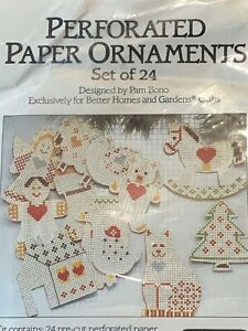 Perforated Paper Ornaments KIT set of 24 for cross stitch Christmas theme
